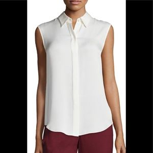 New Theory Tanelis Silk Sleeveless Blouse Ivory M